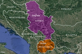Map of Serbia and Macedonia. (T. Benson for VOA)