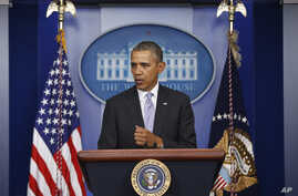 President Barack Obama speaks about Ukraine in the James Brady Press Briefing Room at the White House in Washington, Feb. 28, 2014.)