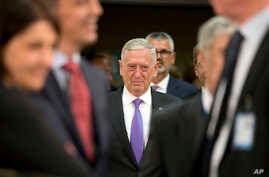U.S. Secretary for Defense Jim Mattis arrives for a meeting of NATO defense ministers at NATO headquarters in Brussels on June 29, 2017.