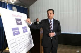 FILE - Preet Bharara, U.S. Attorney for the Southern District of New York, speaks at a news conference, April 20, 2010, in New York. Bharara indicated that the Gambino organized crime family was allegedly involved with sex trafficking of a minor.