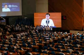 Philippine President Rodrigo Duterte delivers his first State of the Nation Address before the 17th Congress July 25, 2016, in suburban Quezon city, northeast of Manila, Philippines.