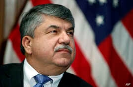 "In this April 4, 2017 file photo, AFL-CIO president Richard Trumka listens at the National Press Club in Washington. Trump tweeted Monday that AFL-CIO President Richard Trumka ""represented his union poorly on television this weekend."""