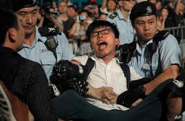 Pro-democracy activist Joshua Wong is detained by police officers after he climbed up to a giant flower statue bequeathed by Beijing in 1997 in Golden Bauhinia Square of Hong Kong, June 28, 2017.