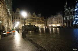 A deserted Grand Place in Brussels, Nov. 23, 2015.