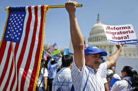 Rigoberto Ramos from Seaford, Del., originally from Guatemala, rallies for immigration reform in front of the U.S. Capitol in Washington, Wednesday, Apr. 10, 2013.
