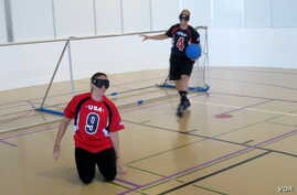 Rio-bound U.S. Paralympic goalball teammates Eliana Mason (front) and Asya Miller practiced at Portland State University.