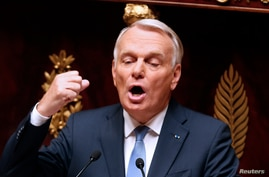 France's Prime Minister Jean-Marc Ayrault delivers his speech during parliamentary debate on Syria at the National Assembly in Paris, Sept. 4, 2013