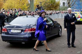 FILE - King Carl XVI Gustaf and Queen Silvia of Sweden, left, arrive at the King's House in Lund, Sweden, Oct. 31, 2016.