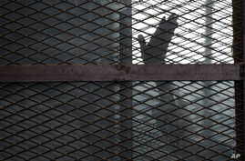 FILE - A defendant is seen gesturing from a cage in a courtroom in Torah prison, southern Cairo, Egypt, Aug. 22, 2015.