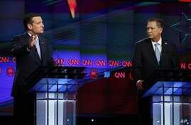 FILE - Republican presidential candidates, from left, Texas Senator Ted Cruz and Ohio Governor John Kasich participate in a Republican presidential debate at the University of Miami, in Coral Gables, Fla., March 10, 2016.
