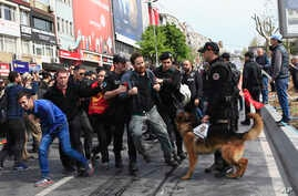 Police arrest demonstrators as they march during May Day, in Istanbul, May 1, 2017.