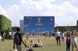 General view of the soccer fan zone on the Champ de Mars near the Eiffel Tower in Paris.