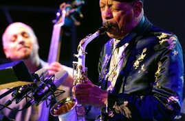 FILE - Jazz legend Ornette Coleman, front, performs with his quartet on the closing evening of the Skopje Jazz Festival, in Skopje, Macedonia.