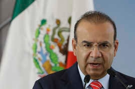 Mexico's Interior Secretary Alfonso Navarrete speaks during the groundbreaking ceremony for the new U.S. embassy, in Mexico City, Tuesday, Feb. 13, 2018.