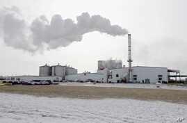 FILE - Steam blows over the Green Plains ethanol plant in Shenandoah, Iowa, Jan. 6, 2015. Without new markets, U.S. producers may have to pare output after spending hundreds of millions of dollars on biofuel production plants in recent years.