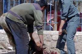 Afghan policemen carry a casualty from the site of a suici