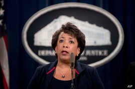 FILE - Attorney General Loretta Lynch speaks at a news conference, Sept. 22, 2016, at the Justice Department in Washington. The Justice Department is moving forward with its plans to collect data on how often law enforcement  officers use force and h...