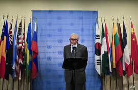 Lakhdar Brahimi, U.N. and Arab League Special Envoy to Syria, speaks during a news conference after closed meetings in the U.N. Security Council, Tuesday, May 13, 2014.