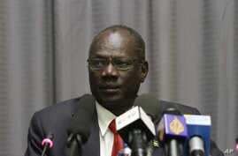 FILE - South Sudanese Information Minister Michael Makuei is seen at a press conference in Addis Ababa, Ethiopia, Jan. 5, 2014.