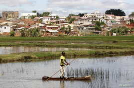 FILE - A man travels in a boat to fish in a pond in the outskirts of the capital Antananarivo, Madagascar.