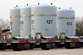 FILE - Empty nuclear waste shipping containers sit in front of the Waste Isolation Pilot Plant near Carlsbad, New Mexico, March 6, 2014.