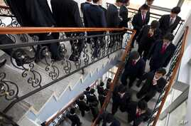 FILE - In this Oct. 5, 2011 photo, shows students at Pyongyang University of Science and Technology. According to the chancellor of the school, North Korea has detained a U.S. citizen who taught at the school, Tony Kim, who also goes by his Korean na...