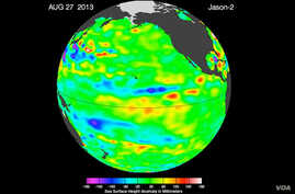 """The latest image of sea surface heights in the Pacific Ocean from NASA's Jason-2 satellite shows that the equatorial Pacific Ocean is now in its 16th month of being locked in what some call a neutral, or """"La Nada"""" state."""