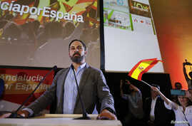FILE - Spain's far-right VOX party leader Santiago Abascal delivers a speech as he celebrates  the results of Andalusian regional elections in Seville, Spain, Dec. 2, 2018.