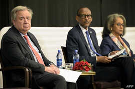 "UN Secretary-General Antonio Guterres, flanked by Rwanda's President Paul Kagame and Ethiopia's President Sahle-Work Zewde (R) attend the ""Africa leadership meeting, investing in health"", ahead of an AU summit in Addis Ababa, Feb. 9, 2019."