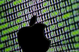 A 3D printed Apple logo is seen in front of a displayed cyber code in this illustration taken March 22, 2016.