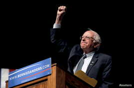 Democratic presidential candidate Bernie Sanders was campaigning in Laramie, Wyoming, April 5, 2016, when he announced that he'd won Wisconsin's Democratic primary, which was held the same day.