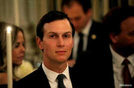 White House senior adviser Jared Kushner listens as U.S. President Donald Trump speaks at a dinner to honor evangelical leadership in the State Dining Room at the White House in Washington, Aug. 27, 2018.