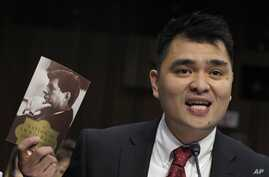 Pulitzer Prize-winning journalist, immigration rights activist and self-declared undocumented immigrant Jose Antonio Vargas testifies on Capitol Hill in Washington, Feb. 13, 2013, before the Senate Judiciary Committee hearing on comprehensive immigra