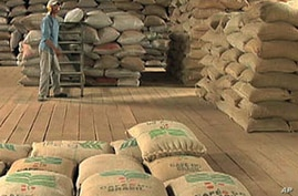 Bags of coffee beans are ready for market in a Garca, Brazil warehouse