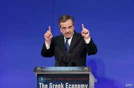 Greece's prime minister, Antonis Samaras, speaks at the annual conference of the American-Hellenic Chamber of Commerce in Athens, Dec. 2, 2014.