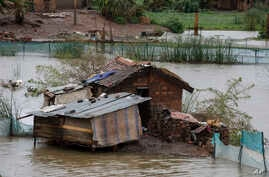 Floodwaters are seen in parts of Madagascar's capital, Antananarivo, March 9, 2017.