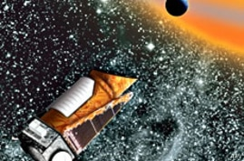 Artist's conception of the Kepler spacecraft, launched in 2008 to identify planets orbiting distant stars