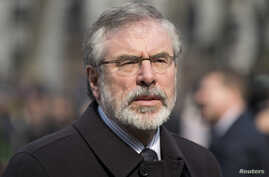 Sinn Fein president Gerry Adams arrives at the funeral of veteran British Labour politician Tony Benn at St. Margaret's Church, Westminster Abbey in London, March 27, 2014.