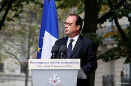 French President Francois Hollande delivers a speech during a ceremony for victims of terror attacks in Paris, France, Sept. 19, 2016.