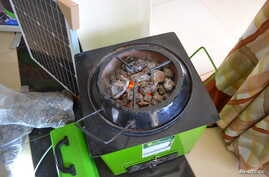 A view of a volcanic rock stove built by the Eco Group Limited, on display in Kampala, Uganda, April 20, 2017.