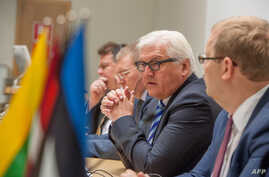 Estonian Foreign Minister Urmas Paet (R) listens to counterpart Frank-Walter Steinmeier from Germany (2dR), as they give a joint press conference with Linas Linkevicius from Lithuania (L) and Edgars Rinkevics from Latvia (2dL) following their meeting