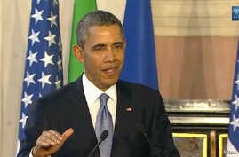 President Barack Obama speaks at a joint news conference with Italian Prime Minister Matteo Renzi (not pictured) in Rome March 14, 2014.