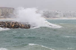 Waves crash against the shore as tropical storm Bud passes, in Los Cabos, Baja California Sur, Mexico, June 14, 2018. The third named storm of the 2018 hurricane season has formed in the Atlantic.