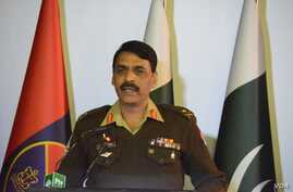 Army spokesman Major-General Asif Ghafoor holds a press briefing, Dec. 27, 2017, in this his handout picture made available by Pakistan's Army's media wing, ISPR.
