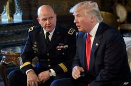 President Donald Trump, right, speaks as Army Lt. Gen. H.R. McMaster, left, listens at Trump's Mar-a-Lago estate in Palm Beach, Fla.,  Feb. 20, 2017, where Trump announced that McMaster will be the new national security adviser.
