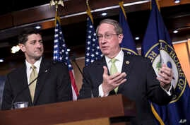 House Speaker Paul Ryan, R-Wis., left, is joined by House Judiciary Committee Chairman Bob Goodlatte, R-Va., right, as the Republican-led House pushes ahead on legislation to crack down on illegal immigration, during a news conference at the Capitol