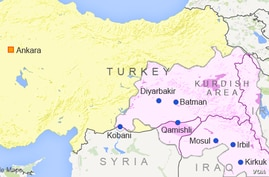 Map of Turkey showing major Kurdish areas