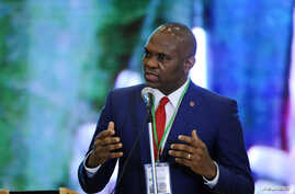 Tony Elumelu of Heir Holdings wants to give away millions to young entrepreneurs. He spoke (above) in Abuja last April.