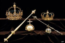 A collection of Swedish Crown jewels is shown in this image made available Aug. 1, 2018, by the Swedish Police.
