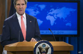 Secretary of State John Kerry speaks at the State Department in Washington, Aug. 26, 2013, about the situation in Syria.